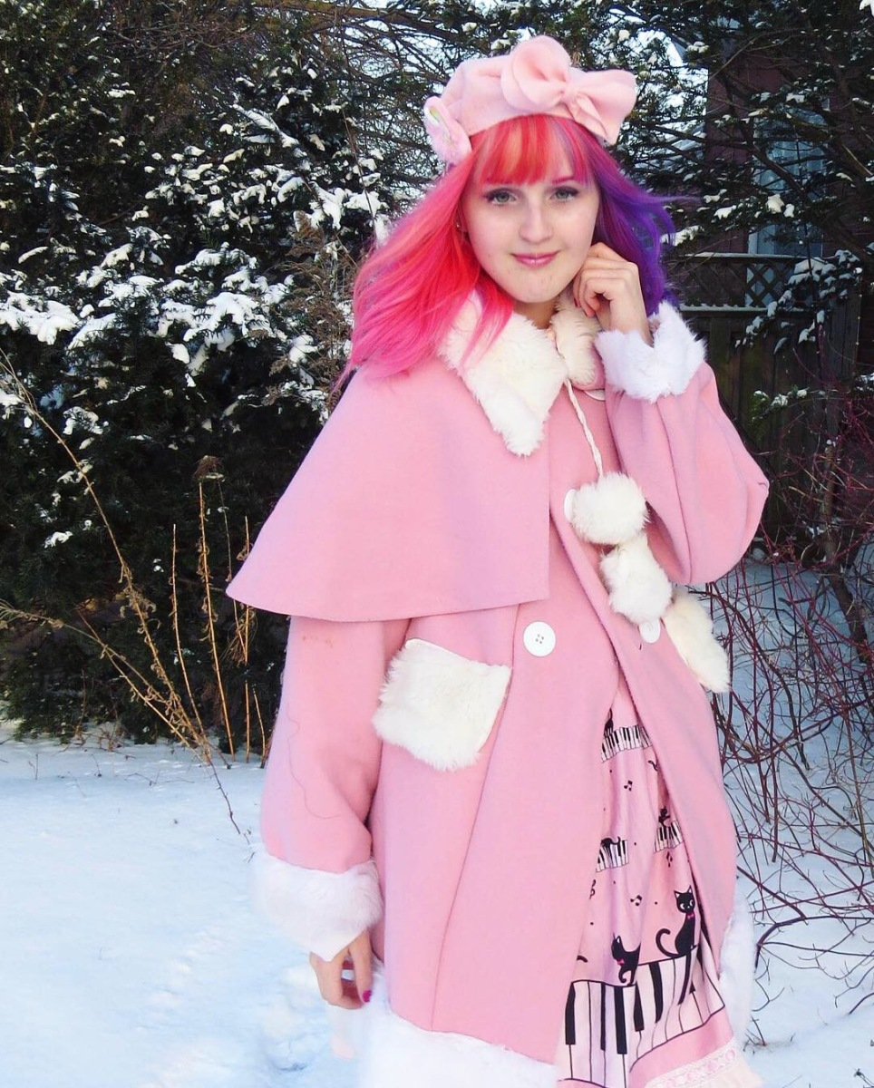 Pink Lolita Winter Coat. Handmade